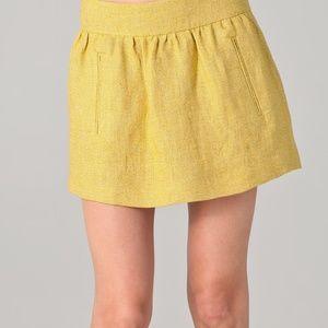 NWT Theory Yellow Linen Luvetta Skirt 00 w/Pockets